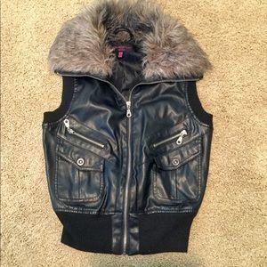 Neu Look Black Faux Leather Vest w/ Fur Lined Hood